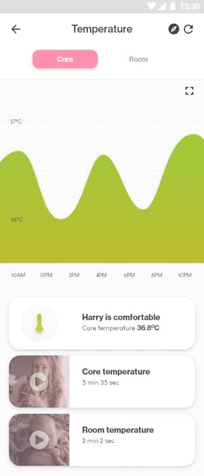 Goldilocks Suit Baby Core Temperature Monitoring App for IOS and Android mobile phone screenshot