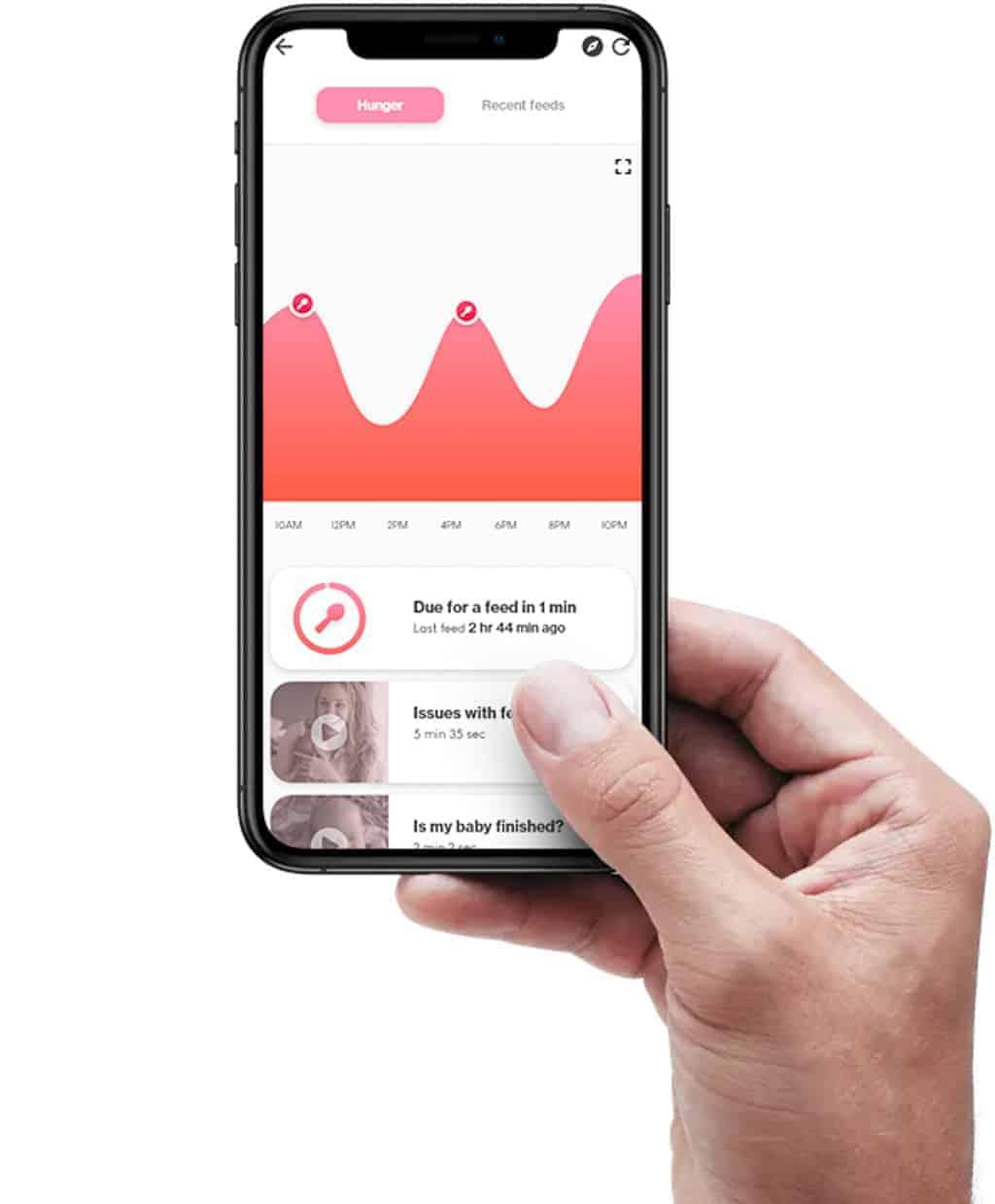 Goldilocks Suit Baby Monitoring App Screenshot of person holding mobile phone