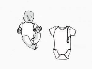 Goldilocks Suit baby monitoring device suit onesie product mock up concept drawing