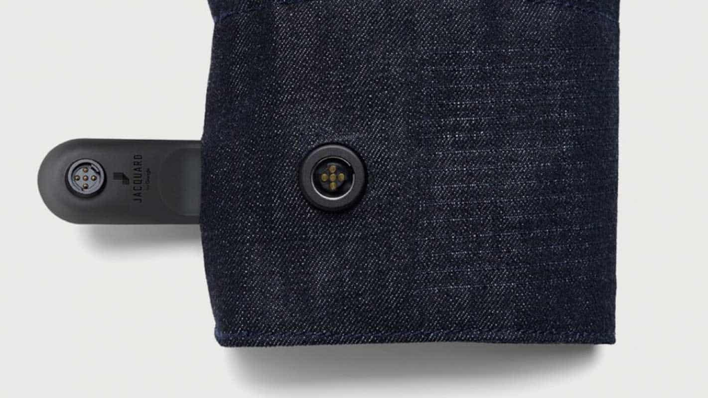Project Jacquard Levis wearable smart clothes with biometrics product close up