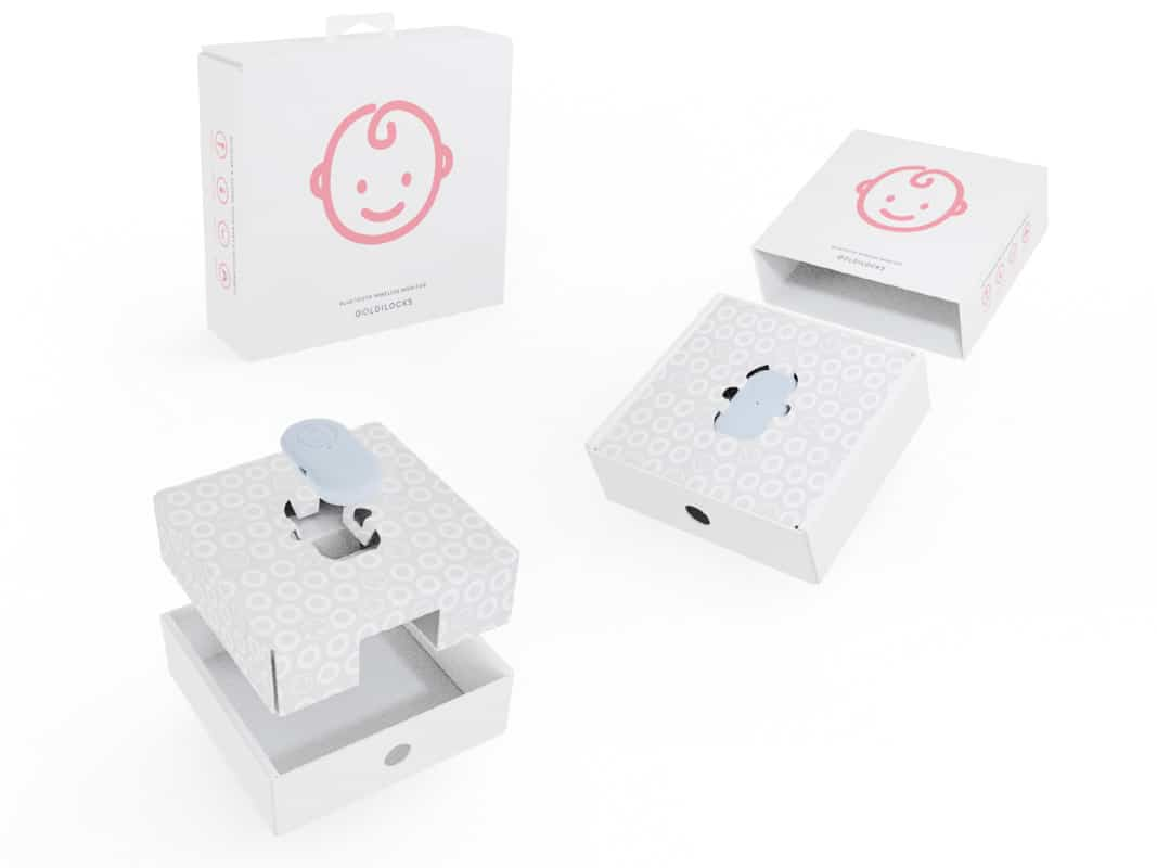 The Goldilocks Suit Bluetooth Baby Monitoring Device for Smartphones Packaging Photo inner box